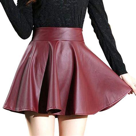 2014 autumn winter pu leather skirts fashion solid