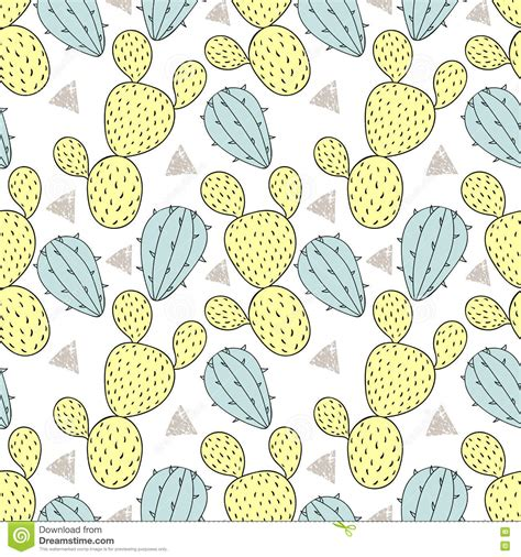 doodle pattern vector cactus doodle seamless pattern vector cartoon vector