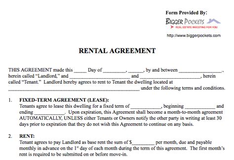 agreement in word basic rental agreement in a word document for free