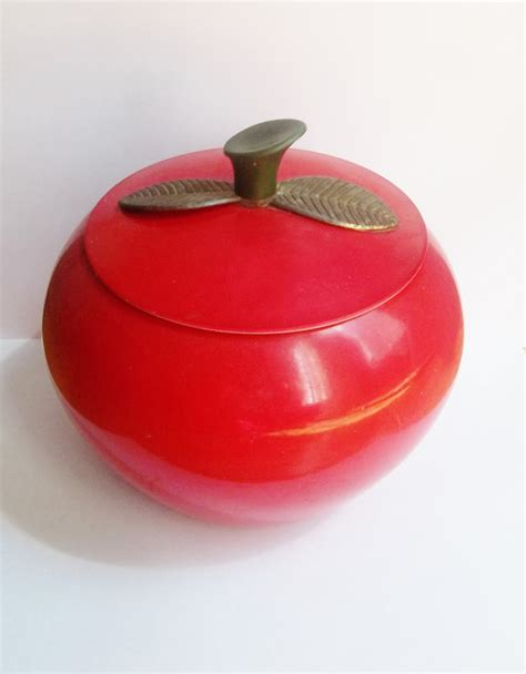 vintage apple aluminum canister kitchen decor collectible tin apple canister vintage 1950s metal kitchen container
