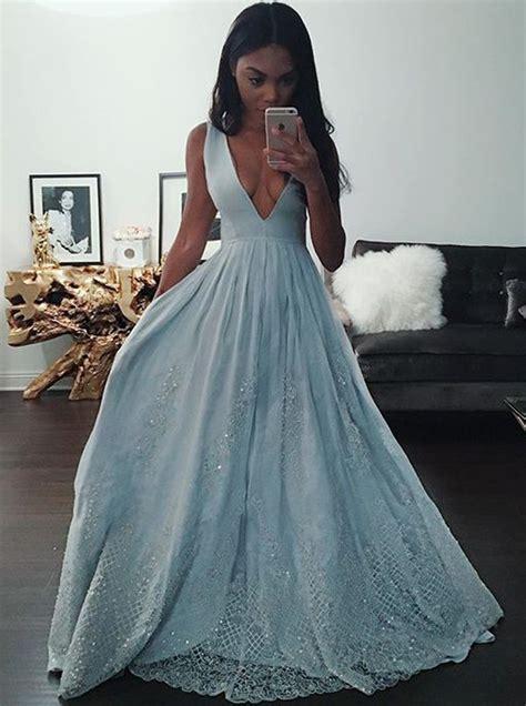 V Neck Prom Dress a line v neck light blue prom dress with appliques