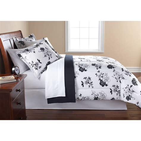 black white floral flowers comforter sheets sham set dorm