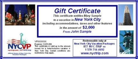 vacation certificate template gift certificates for nyc travel packages