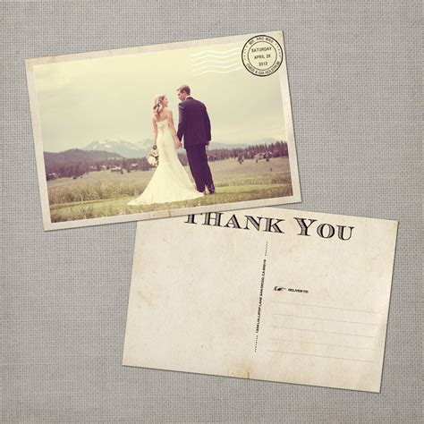 wedding thank you postcard wedding thank you cards thank you note cards vintage cards