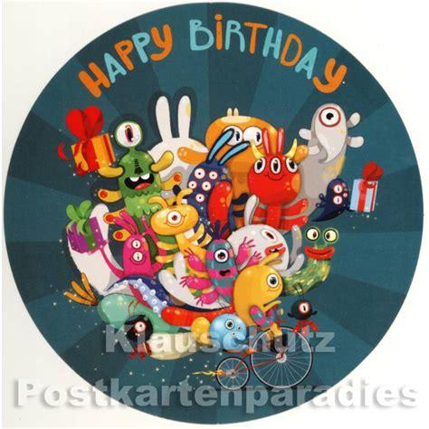 Runde Postkarten Drucken by Runde Postkarten Happy Birthday Mit Monstern