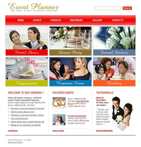 event planner website template 16251