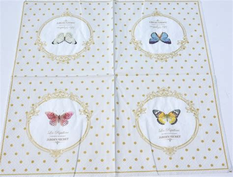 Sale Paper Napkin Dainty Made In Germany dots butterfly decoupage paper napkins vintage paper napkins