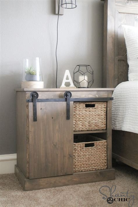 nightstand with cabinet door sliding barn door nightstand diy shanty 2 chic