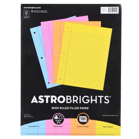 colored filler paper astrobrights wide ruled color filler paper 8 5 quot x 11 quot 20
