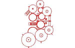 Cad Interior Design drum set musical instrument 2d dwg block for autocad