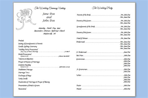 traditional wedding program templates bell picture template new calendar template site