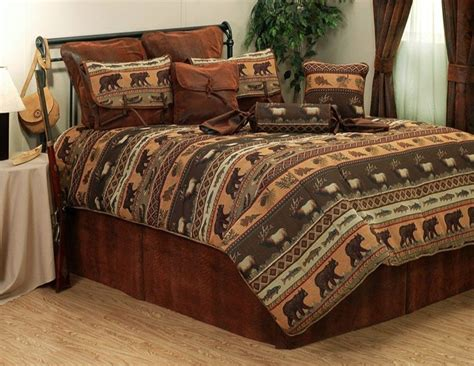 lodge comforter jackson hole moose elk bear rustic cabin lodge bedding