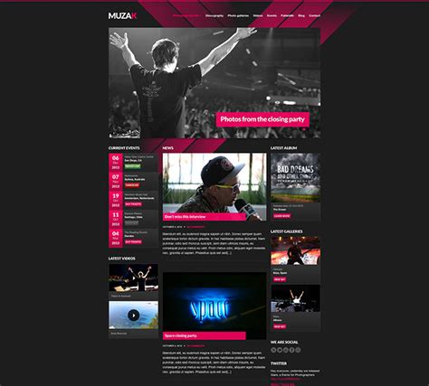 templates for music website free download 29 best html website templates for bands musicians web