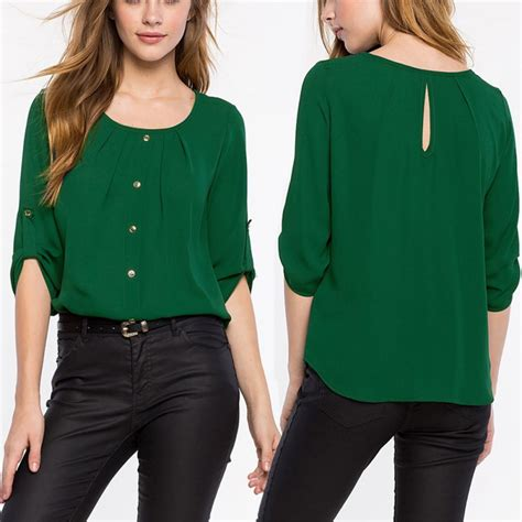 Casual Blouse 3 4 sleeve crew neck office work wear casual chiffon