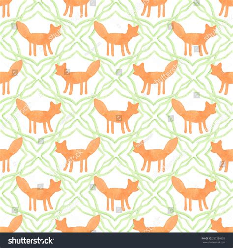 watercolor fox pattern fox watercolor seamless pattern foxes on stock vector