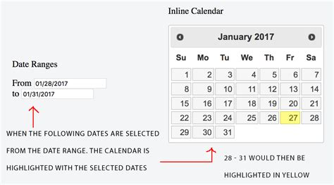 javascript date format string jquery javascript jquery datepicker date range populates inline