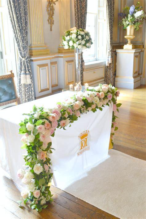 flower wedding garland registrar table flower arrangement flower garland cherie knowsley wedding 1 ch 233 rie