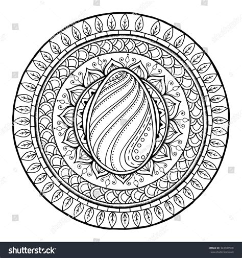 doodle fit circle of easter theme circle tribal doodle ornament with egg