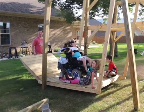 accessible swing awesome dad designs builds wheelchair accessible swing