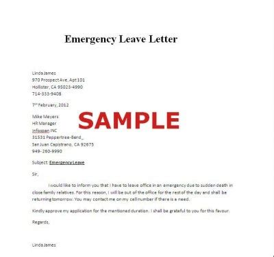 Emergency Family Leave by Sle Of Emergency Leave Letter Careers
