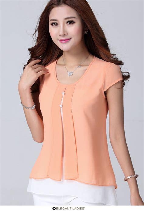 Blouse Lamoda Sw48 2015 nueva moda para mujer ruffles corta verano camisas de la gasa blusa de la f 225 brica de