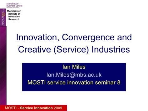 Mba Innovation And Data Analysis by Creative Industries Innovation And Digital Convergence
