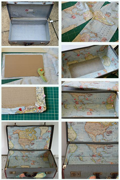 How To Make A Suitcase Out Of Paper - brilliant vintage map suitcase tutorial pillar box blue