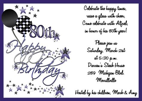 Happy 80th Birthday Card Template by 90th Birthday Invitation Wording Sles 80th Birthday