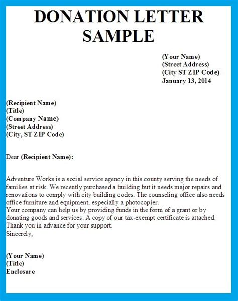 Donation Letter Template Letter Asking For Donations Writing Professional Letters