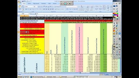 Sle Credit Card Spreadsheet Credit Card Tracker Live Balance Spreadsheet And Calculator