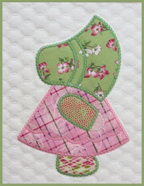 Quilt Pattern Sunbonnet Sue | sunbonnet sue quilt in the hoop embroide by marjorie busby