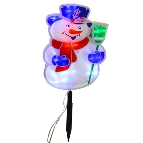 holiday time 4 piece vintage snowman pathway christmas lighted lawn stakes set mains voltage pvc 4 character pathway festive outdoor led lights
