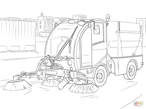 Sweeper Truck Coloring Page | street sweeper coloring page free printable coloring pages