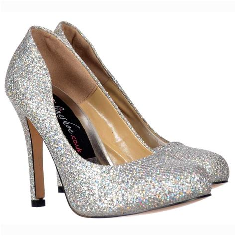 silver sparkle shoes onlineshoe sparkly silver shimmer glitter sequined mesh