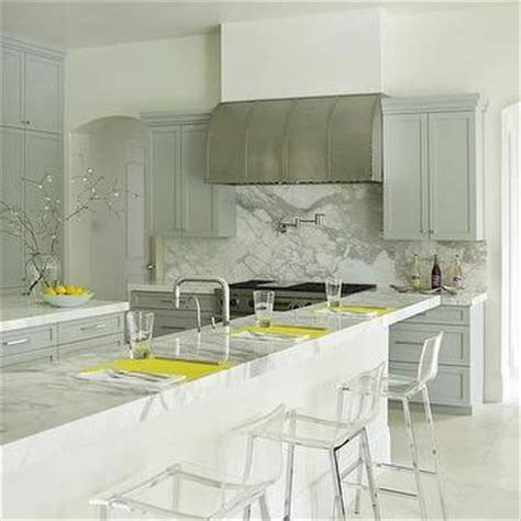 stephmodo gorgeous gray kitchen with yellow accents kitchen hood between glass front cabinets transitional