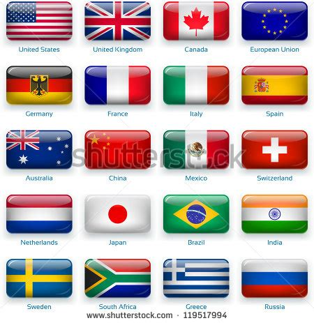 flags of the world most popular colour button flags most popular countries 3 layers shadows