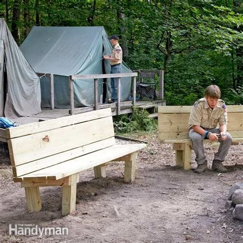 how to build an outdoor bench with back how to build a cfire bench the family handyman