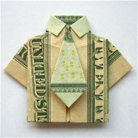 Shirt And Tie Origami - modular money origami from 5 bills how to fold step