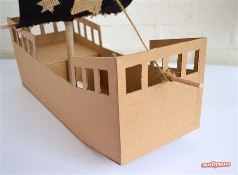How To Make A Paper Pirate Ship - mollymoocrafts diy cardboard pirate ship craft tutorial