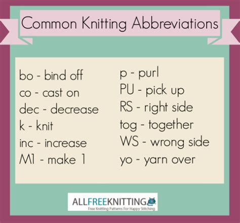 knitting abbreviations common knitting abbreviations allfreeknitting