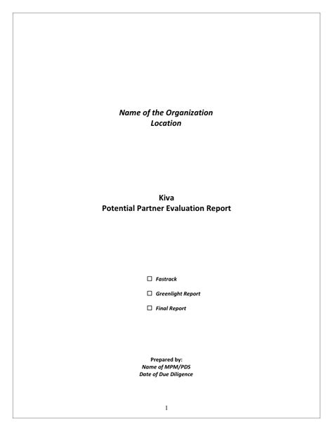 Abr Report Template Kiva Due Diligence Template