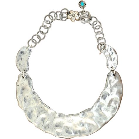 Handmade Collar Necklace - handmade 975 silver hammered collar necklace from