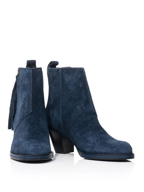 acne studios pistol suede ankle boots in blue lyst