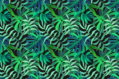 Free Online Resumes by Tropical Leaves Seamless Pattern Patterns On Creative Market