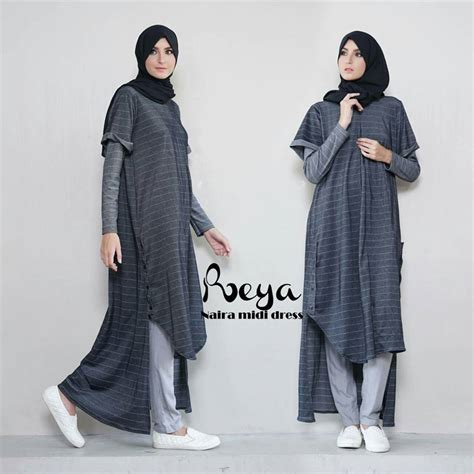 Tunik Listy Midi Dress Rabiya Jual Busana Muslim