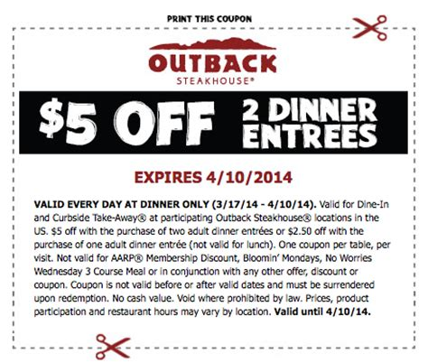 outback steakhouse save 5 on 2 dinner entrees outback steakhouse 5 2 dinner entrees free 4 seniors