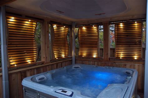 hot tub privacy curtains designs by paul lafrance and cutting edge construction