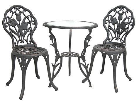 patio furniture bistro set cast aluminum iron tulip