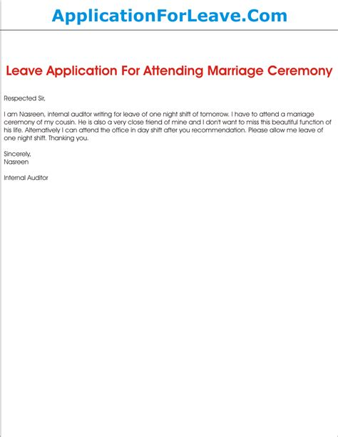 Request Leave Letter For Marriage Leave Application For Attending Marriage Ceremony