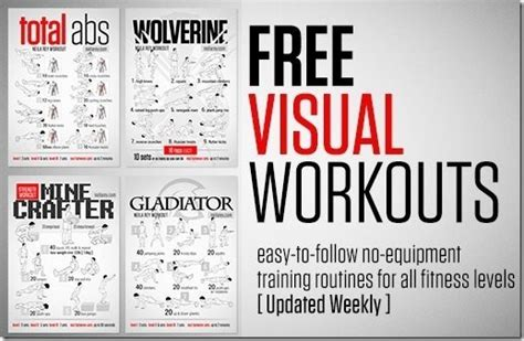 get free workout posters to do workouts without any equipment